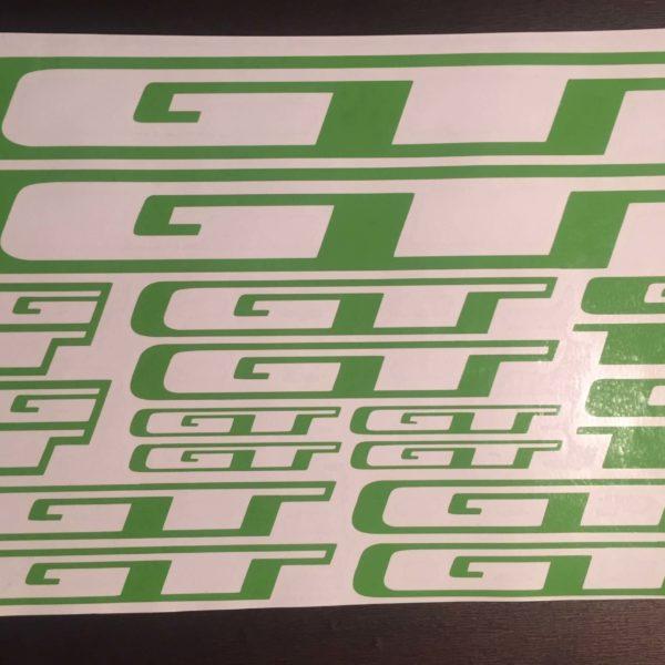 Комплект наклеек GT на раму велосипеда зеленого цвета